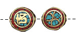 """Tibetan Brass """"Om"""" on Coral & Turquoise Mosaic Coin Bead 16-17mm"""