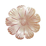 Pink Mother of Pearl Carved Flower w/Rounded Petals Pendant 40mm