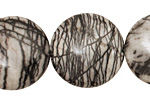 Black Water Jasper Puff Coin 25mm