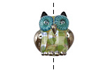 Grace Lampwork Green w/ Silver Metallic Free Style Owl 19-20mm
