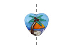 Grace Lampwork Palm Tree Sunset Heart 19x17mm