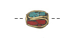 Tibetan Brass Barrel Bead w/ Turquoise & Coral Mosaic Plumes 15-16x11-12mm