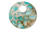 Teal Impression Jasper Coin Pendant 30mm