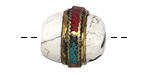 Tibetan White Shell Rice Bead w/ Coral & Turquoise Roped Brass Detail 20-27x18-22mm