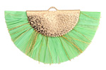 Parrot Green w/ Metallic Gold Fringed Raffia Focal 45x27mm