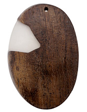 Wood & Clear Resin Large Oval Pendant 48x70mm