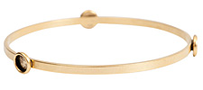 Nunn Design Antique Gold (plated) Large Flat Bangle Bracelet w/ Bezels 70mm