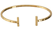 Gold (plated) T-Bar Bangle Bracelet 56mm