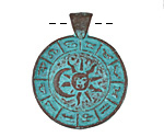 Greek Copper Patina Zodiac Pendant 27x34mm