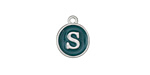 "Peacock Green Enamel Silver Finish Initial Coin Charm ""S"" 12x14mm"