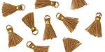 Nutmeg w/ Gold Binding & Jump Ring Tiny Thread Tassel 12mm
