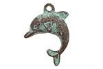 Greek Copper (plated) Patina Leaping Dolphin Pendant 24x30mm