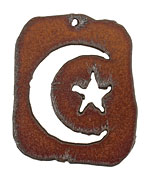 The Lipstick Ranch Rusted Iron Celestial Dog Tag 42x50mm