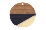 Walnut Wood & Vogue Resin Coin Focal 28mm