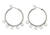 Silver (plated) Hoop Earring w/ 5 Loops 28mm