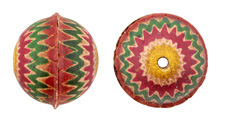 Hand Painted Yellow, Violet,Green, Pink Zigzags Leather Round Bead 26-29mm