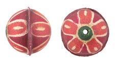 Hand Painted Orange Daisy Leather Round Bead 26-29mm