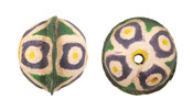 Hand Painted Purple & Yellow Wildflower Leather Round Bead 20-22mm