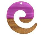 Walnut Wood & Orchid Pearlescent Resin Koru Focal 36x37mm