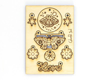 Vintaj Luna Love Colourful Soul Wood Jewelry Pop Outs