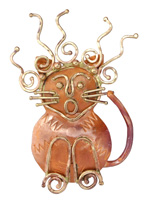 Patricia Healey Copper Scaredy Cat Pendant 42x59mm