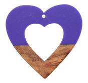 Walnut Wood & Deep Periwinkle Resin Open Heart Focal 50mm