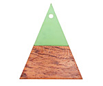 Wood & Bottle Green Resin Triangle Focal 31x37mm
