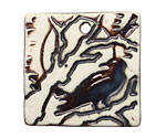 Earthenwood Studio Ceramic Square Raven Pendant 36mm
