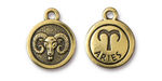 TierraCast Antique Gold (plated) Round Aries Charm 15x18mm