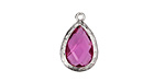Cranberry Crystal in Silver (plated) Textured Bezel Teardrop 12x18mm