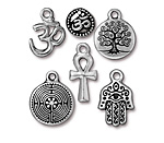 TierraCast Antique Silver (plated) Spiritual Charm Set