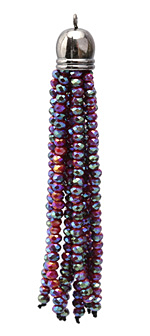 Ruby w/ Oiled Bronze Luster Crystal Tassel w/ Gunmetal Cap 9x68mm
