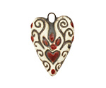 Earthenwood Studio Ceramic Everlasting Heartfire Pendant 20-21x29mm