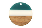 Walnut Wood & Succulent Resin Banded Coin Focal 28mm