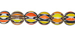 Nepalese Glass Sunflowers Patterned Round Beads 8-9mm