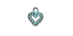 Greek Copper (plated) Patina Heart Charm 11x13mm