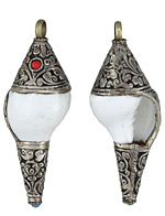 Tibetan White Brass Trimmed White Conch Shell Pendant 30-33x79-85mm