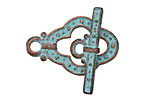 Greek Copper Patina Guinevere Toggle Clasp 21x31, Bar 29mm