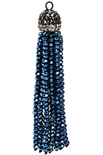 Metallic Cosmos Crystal Tassel w/ Hematite & Clear Crystal Pave Cap 75mm