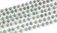 Sea Salt (Matte) Crystal 2mm Delicate Brass Bead Chain