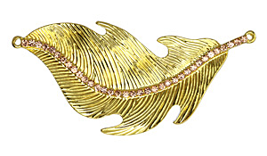 Zola Elements 24kt Gold (plated) Feather w/ Topaz Crystals Focal Link 90mm