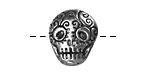 Green Girl Pewter Skull Button 17x19mm