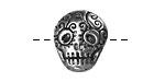 Green Girl Pewter Skull Button 17x19mm