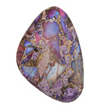 Purple Impression Jasper & Pyrite Flat Freeform Pendant 31-32x45-46mm