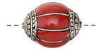 Tibetan Large Resin Coral & White Brass Bead 27-30x22mm