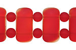 Cherry Red Recycled Glass 2-Hole Rounded Pillow 11x23mm