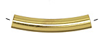 Gold (plated) Shallow Curve Noodle Bead 38x9mm