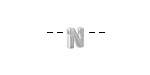 "Sterling Silver Letter ""N"" Charm Slide 6mm"
