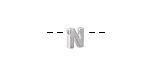 """Sterling Silver Letter """"N"""" Charm Slide 6mm"""
