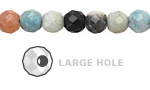 Black Gold Amazonite Faceted Round (Large Hole) 8mm